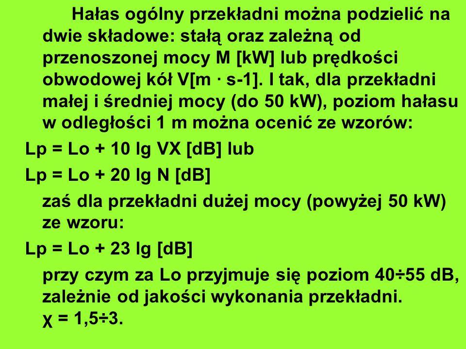 Hałas ogólny przekładni można podzielić na dwie składowe: stałą oraz zależną od przenoszonej mocy M [kW] lub prędkości obwodowej kół V[m · s-1]. I tak, dla przekładni małej i średniej mocy (do 50 kW), poziom hałasu w odległości 1 m można ocenić ze wzorów: